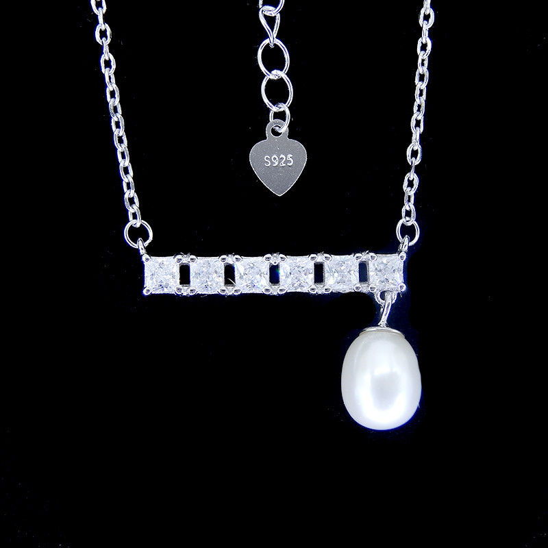 Bar Shape Freshwater Pearl Pendant Necklace Pure 925 Silver Chandelier