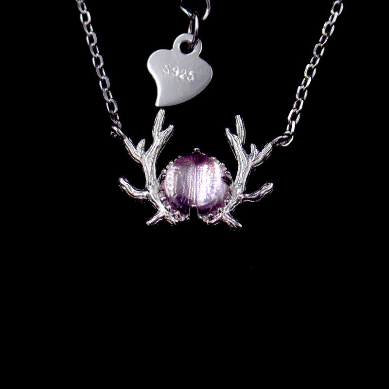 Special Silver Plating Gold Necklace / Coloured Glaze Antlers Shape Jewelry