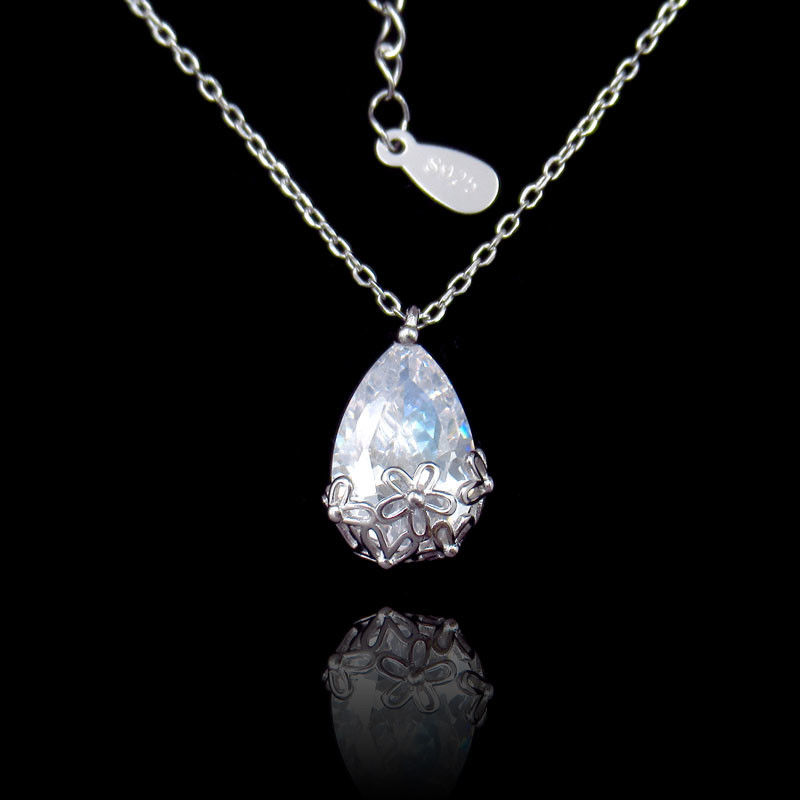 Sterling 925 Water Drop Zircon Silver Cubic Zirconia Necklace