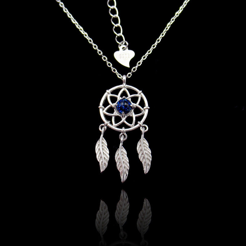 CZ Silver Dreamcatcher Necklace With Feather 925 Sterling